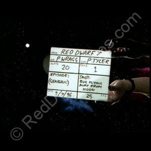 starbug flying away from moon clapperboard